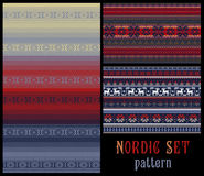 Nordic Traditional Knitted Ornamental Multicolor Striped Pattern Stock Image