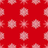 Winter seamless background with snowflakes for greeting card or invitation. Merry Christmas and Happy New Year design element. Bright red vector backdrop royalty free illustration