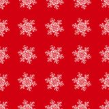 Winter seamless background with snowflakes for greeting card or invitation. Merry Christmas and Happy New Year design element. Bright red vector backdrop vector illustration