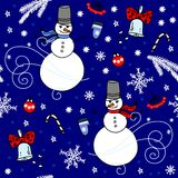 Winter seamless background with snowmen. Winter seamless background with snow and snowmen Royalty Free Stock Images