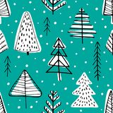 Winter seamless background. With pine trees in the forest Stock Image