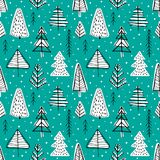 Winter seamless background. With pine trees in the forest Royalty Free Stock Photo