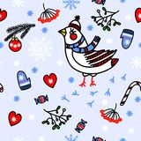 Winter seamless blue background with birds Royalty Free Stock Image