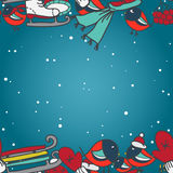 Winter seamless border with bullfinches and sleds mittens cap skates Royalty Free Stock Images