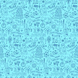 Winter seamless hand drawn doodle pattern Royalty Free Stock Photo