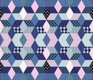 Winter seamless patchwork pattern from different elements in blue and pink tones Stock Photo