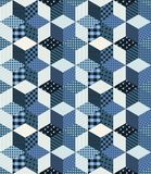 Winter seamless patchwork pattern. From different elements in blue tones Royalty Free Stock Photography