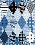 Winter seamless patchwork pattern. Fabric in blue tones. Royalty Free Stock Photography