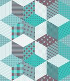 Winter seamless patchwork pattern with stars. New year background. Vector illustration of quilt in aquamarine tones Royalty Free Stock Image