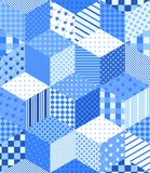 Winter seamless patchwork pattern with stars. New year background. Vector illustration of quilt in blue and white tones Royalty Free Stock Image