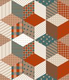 Winter seamless patchwork pattern with stars from patches. Royalty Free Stock Photography