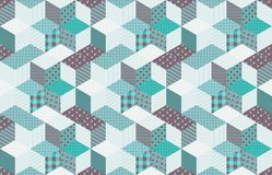 Winter seamless patchwork pattern with stars. Vector background. Quilting in aquamarine tones Stock Photo