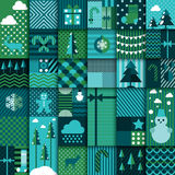 Winter seamless patchwork Stock Photos