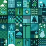 Winter seamless patchwork Stock Photos