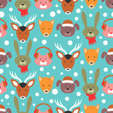 Winter seamless pattern with adorable animals Royalty Free Stock Photos