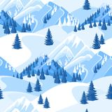 Winter seamless pattern. Beautiful landscape with snowy mountains and fir forest.  Stock Photography