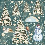 Winter Seamless Pattern with bunnies, spruce trees and snowman. Stock Photography