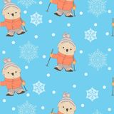 Winter seamless pattern with cartoon bear skiing Stock Photos