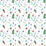 Winter seamless pattern with christmas decorations and christmas trees vector illustration