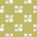 Seamless Christmas Gift Box Present Pattern. Winter Seamless Pattern with Christmas Gift Boxes. Wrapped Boxes with Stripes and Bows Flat Vector on Color Royalty Free Stock Images