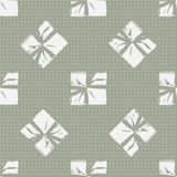Seamless Christmas Gift Box Present Pattern. Winter Seamless Pattern with Christmas Gift Boxes. Wrapped Boxes with Stripes and Bows Flat Vector on Color Stock Image