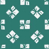 Seamless Christmas Gift Box Present Pattern. Winter Seamless Pattern with Christmas Gift Boxes. Wrapped Boxes with Stripes and Bows Flat Vector on Color Stock Photos