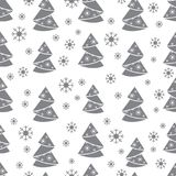 Winter seamless pattern with Christmas tree in origami form and. Snowflakes. Design for postcard, banner, flyer, poster or print Stock Photos