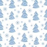 Winter seamless pattern with Christmas tree in origami form and. Snowflakes. Design for postcard, banner, flyer, poster or print Royalty Free Stock Image