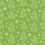 Winter seamless pattern with Christmas tree in origami form and. Snowflakes. Design for postcard, banner, flyer, poster or print Stock Image