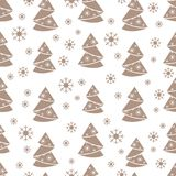 Winter seamless pattern with Christmas tree in origami form and. Snowflakes. Design for postcard, banner, flyer, poster or print Royalty Free Stock Photo