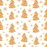 Winter seamless pattern with Christmas tree in origami form and. Snowflakes. Design for postcard, banner, flyer, poster or print Stock Photography