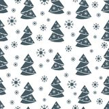 Winter seamless pattern with Christmas tree in origami form and. Snowflakes. Design for postcard, banner, flyer, poster or print Royalty Free Stock Photos