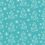 Winter seamless pattern with Christmas tree in origami form and. Snowflakes. Design for postcard, banner, flyer, poster or print Royalty Free Stock Photography