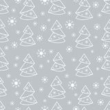 Winter seamless pattern with Christmas tree in origami form and. Snowflakes. Design for postcard, banner, flyer, poster or print Royalty Free Illustration