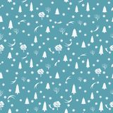 Winter seamless pattern. Christmas tree and snowflakes on a blue background. Vector illustration. Winter seamless pattern. Christmas tree and snowflakes on a Stock Photo