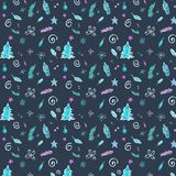 Winter seamless pattern in cold colors with Christmas decorations stock illustration