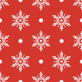 Winter seamless pattern with crystallic snowflakes Stock Images