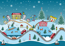 Winter seamless pattern. Cute cartoon hills. Winter seamless pattern. Cute cartoon hills with city houses, streets, cars, and fir trees. Vector illustration Royalty Free Stock Photos