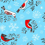 Winter seamless pattern with cute doodle birds on rowan branches Royalty Free Stock Photography