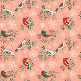 Winter seamless pattern with cute doodle birds on rowan branches Royalty Free Stock Photos