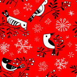 Winter seamless pattern with cute doodle birds on rowan branches Stock Photo