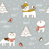 Winter seamless pattern with cute pets royalty free illustration