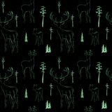 Winter seamless pattern with deer in forest dark background stock illustration