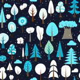 Winter seamless pattern of different trees and bushes. Vector forest illustration.. Winter seamless pattern of different trees and bushes. Vector forest Royalty Free Stock Photos