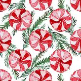 Winter seamless pattern. Elegant winter seamless pattern with christmas candies and fir tree branches, design elements. Can be used for winter holiday Stock Photography