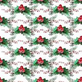 Winter seamless pattern. Elegant winter seamless pattern with holly berries and fir tree branches, design elements. Can be used for winter holiday invitations Stock Image
