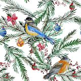Winter seamless pattern. Elegant winter seamless pattern with watercolor birds and fir tree branches, design elements. Can be used for winter holiday invitations Stock Photo