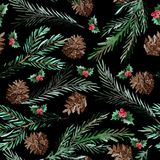 Winter seamless pattern. Elegant winter seamless pattern with holly berries, cons and fir tree branches, design elements.Can be used for winter holiday Royalty Free Stock Photo
