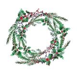 Winter seamless pattern. Elegant winter seamless pattern with holly berries, cons and fir tree branches, design elements.Can be used for winter holiday Stock Images