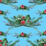 Winter seamless pattern. Elegant winter seamless pattern with holly berries and fir tree branches, design elements. Can be used for winter holiday invitations Stock Photography